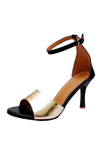 iLO Women's Black Gold Synthetic Heels (IL06A373HE-61054) - 8 UK  available at amazon for Rs.1049