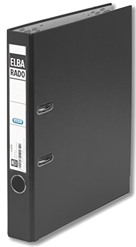 Preisvergleich Produktbild ELBA 100022624 Kunststoff-Ordner rado plast 5 cm schmal DIN A4 mit PVC-Folie überzogen schwarz Ringordner Aktenordner Briefordner Büroordner Plastikordner Schlitzordner