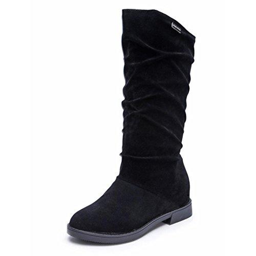 Damen Schuhe Dasongff Herbst Winter Stiefel Damen Stiefeletten Sweet Boot Stilvolle flache Flock Schuhe Schneestiefel Schlupfstiefel Boots Schuhe (RU/EU/CN 40, Schwarz) (Stiefel Wildleder Tall)