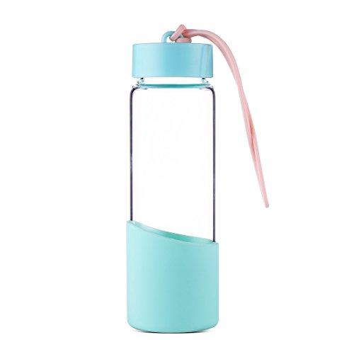 bouteille d 39 eau 300 ml verre borosilicate avec bracelet en silicone stop bpa. Black Bedroom Furniture Sets. Home Design Ideas