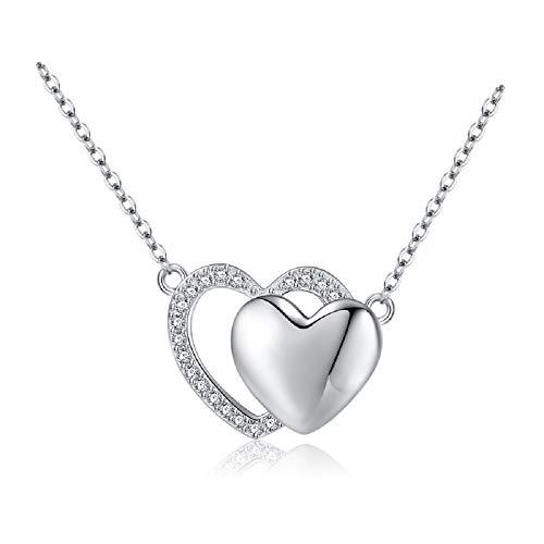 Herzen Kette Damen Halskette 925 Sterling Silber Schöner Liebe Anhänger Zirkonia 45CM Schmuck Set Geschenk für Freundin Mutter
