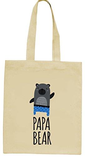 Geschenkidee natur Jutebeutel Stoffbeutel mit Papa Bear Motiv von ShirtStreet Natur