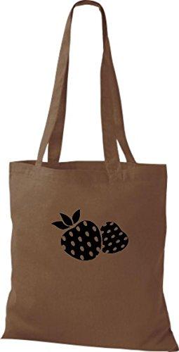 ShirtInStyle Stoffbeutel Baumwolltasche Dein Lieblings Obst und Gemüse Erdbeere Farbe Pink mittelbraun