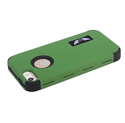 Iphone 5S/SE Case,Lantier 3 en 1 Heavy Duty Hybrid Hard Case Silicone Gel Cover-Mode Quicksand Angel Eyes TUFF impact antichoc Protect pour Apple Iphone 5S/SE [Rouge/Noir] 5S/SE Dark Green/Black