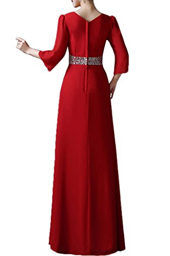Promgirl House Damen Elegant Chiffon A-Linie Abendkleider Hochzeits Brautmutter Ballleider Lang mit Aermel Grün