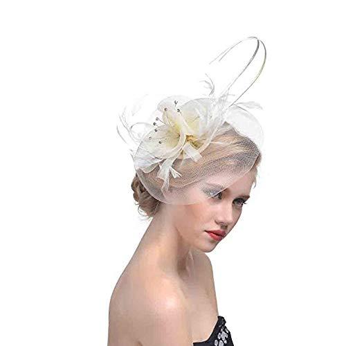 jinlan Damen Feder Mesh Net Fascinator Stirnband Aliceband Hut Hochzeitstag Rennen Royal Ascot Haarband Kopfschmuck Derby Hut