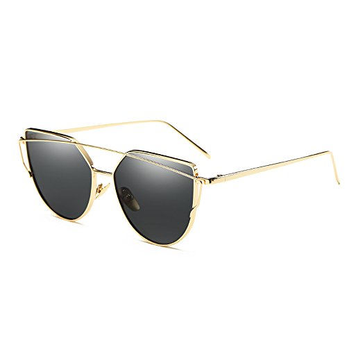 Skitic Twin-Träger Sonnenbrille Klassische Sonnen Brillen Metallrahmen Katzenaugen Brille UV 400...