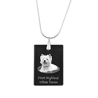 ArtDog Ltd. West hochland weiß Terrier, Hund Kristall Anhänger, Silver Halskette 925, hohe Qualität