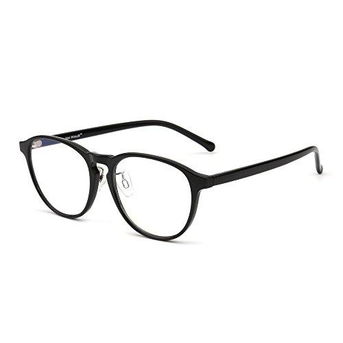 JIM HALO Blaues Licht blockiert Rund Lesebrille, Augenbelastung reduzieren Anti-Glanz klar Linse Video Brillen Damen Herren(Schwarz/Klar)