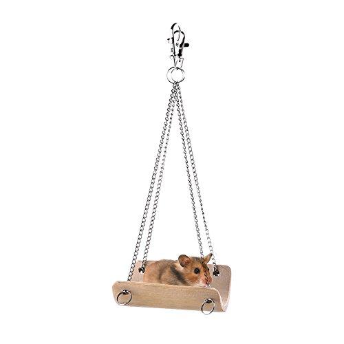 Jannyshop Schaukel Kleintierspielzeug Käfigbett Hängende Swing Spielzeug für Kleintier Hamnster aus Bambus