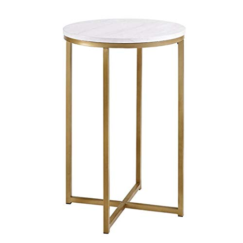 Tables basses Table en marbre Salon en Acier Inoxydable Coin Petite Table Table Ronde (Color : Gold, Size : 50 * 50 * 60cm)