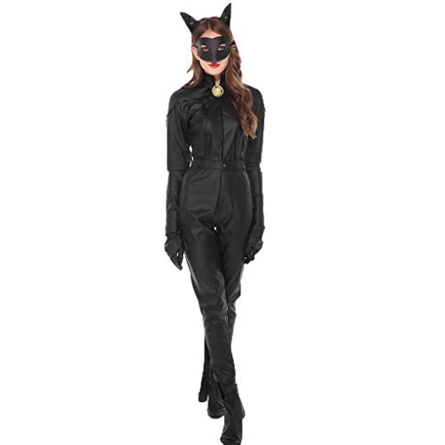 Honestyi Frauen Halloween Magie Hexe Schwarze Katze Frau Overalls Party Kostüm Cosplay Damen Catwoman Halloween Cosplay Kleid (Darth Vader Katze Kostüm)