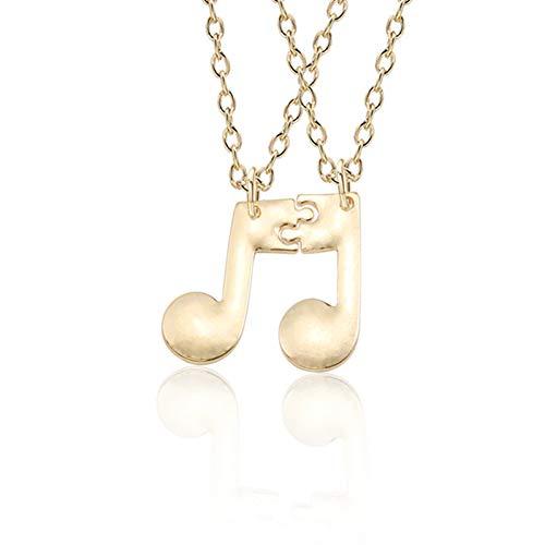 JMZDAW Halskette Anhänger 2 Pcs/Set Beste Freunde Halskette Für Frauen Musik Hinweis Halskette BFF Jigsaw Gold Silber Paar Halsketten & Anhänger Puzzle Schmuck - Hund Puzzle Jig Saw