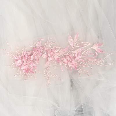 Lace Crafts - 3D-Perlen-Blumenapplikation, graue bestickte Braut-Applikation für Tanz-Kostüme, Brautkleid-Zubehör - Braut Tanz Kostüm