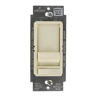 Leviton SureSlide Decora Full Range Slide Dimmer 3-way illuminated, with preset on/off switch. 600WIncandescent Dimmer, Single Pole or 3-Way, Almond by