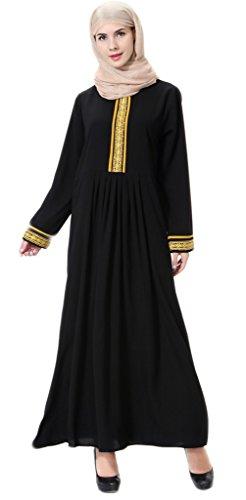 Auspicious beginning Vestido de noche largo elegante de la manga del color sólido de las mujeres Longitud árabe árabe completo de Thobe de Oriente Medio Abaya