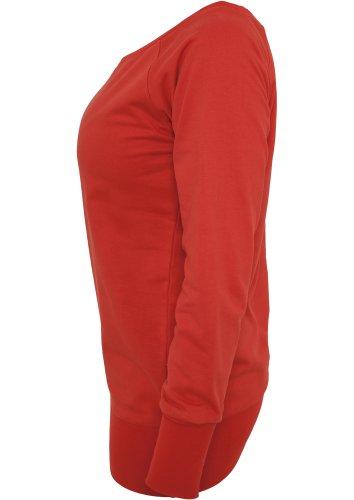 Urban Classics TB607 Damen Sweatshirt Ladies Wideneck Crewneck Rot