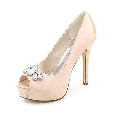 Wuyulunbi@ Scarpe donna raso Primavera Estate della pompa base scarpe matrimonio Stiletto Heel Peep toe strass per la festa di nozze & Sera Argento Rosso Blu Champagne