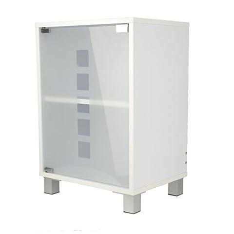Waschtischunterschrank mit Glastür Holz weiß 30 x 40 x 56 cm   Aussparung für Siphon   verstellbarer Einlegeboden   Tip-on-Automatik