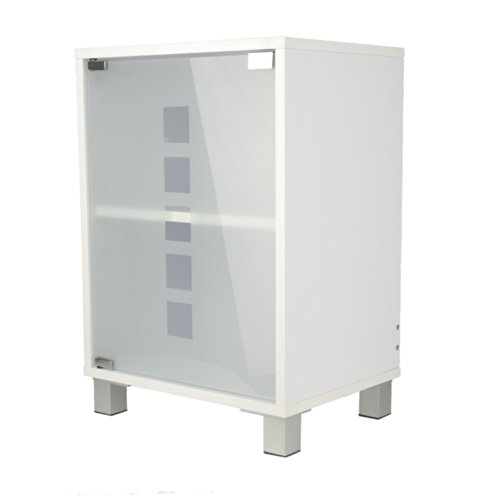 Waschtischunterschrank mit Glastür Holz weiß 30 x 40 x 56 cm | Aussparung für Siphon | verstellbarer Einlegeboden | Tip-on-Automatik