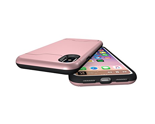 Case for iPhone 8, iPhone 8 Case, iPhone 8 Cases, iPhone 8 Back Case, SICAS ( TM ) iPhone 8 Hybrid Wallet Case Protective Hard Cover Skin Card Holder for iPhone 8-Gray Rose Gold