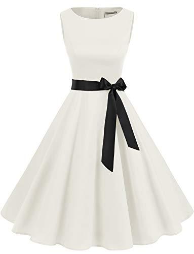 er Vintage Cocktailkleid Rockabilly Retro Schwingen Kleid Faltenrock White XS ()