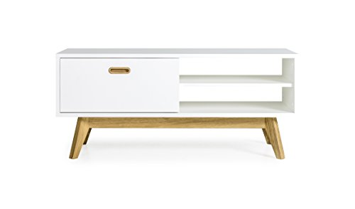 TENZO 2161–001 Bess Designer Banc TV Bois Blanc/chêne, 43 x 114 x 50 cm