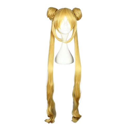 Mädchen Kostüm Sailor - NiceLisa Mädchen Kind lange gelbe goldene Haare Halloween Anime Cosplay Kostüm synthetische Halloween Perücken