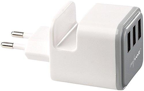 reVolt Handyladegeräte: 3-Port-USB-Netzteil 230 Volt mit Handyablage, 3,4 A (USB Steckerladegerät)