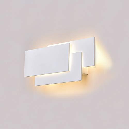 K-Bright LED Wandleuchten Innen,12W,IP20 Wasserdicht Aluminium Badlampe Wandstahler Effektlampe Badleuchte Flurlampe,10.2x4.9x2.2 Zoll,Modern Design Lampe Wandbeleuchtung Wandlicht,2700K-3000K Warmweiß,weiß