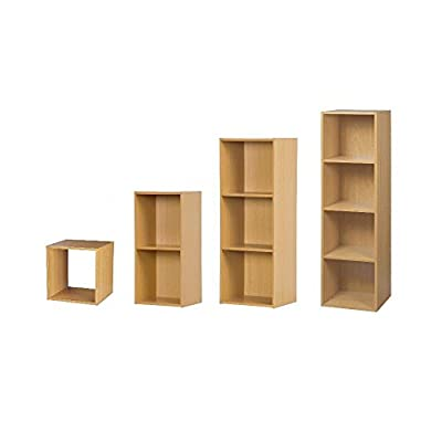 Wooden Storage Bookcase Free Standing 1 2 3 4 Tier Home Office Display Furniture - inexpensive UK light shop.
