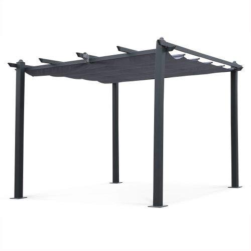 Alice's Garden Pergola Aluminium - Condate 3x3m - Toile Grise - Tonnelle idéale pour Votre terrasse, Toit Retractable, Toile coulissante, Structure Aluminium