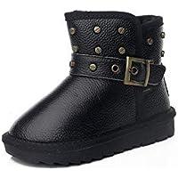 zj Botas para Niños Botas de Invierno para Niños Botas de Cuero Cálidas Y de Terciopelo para Niñas Botas para la Nieve del Bebé Moda para Bebés Niños Pequeños Zapatos para la Nieve,marrón,28