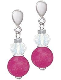 45482d265367 Eternal Collection Rhapsody - Pendientes de gota de cristal y jade rosa  fucsia (4 x