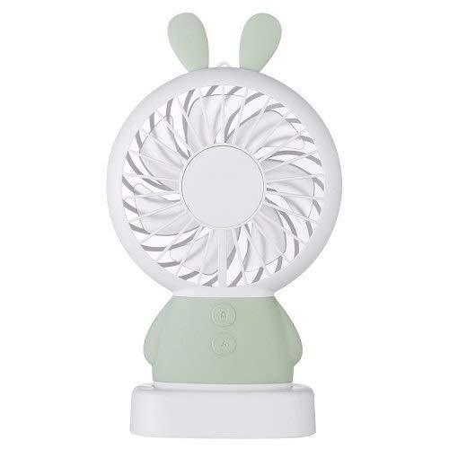 Yeying Elektrischer Ventilator Korea Explosion Modelle Linglong Kaninchen Dharma Bär tragbare Aufladung Kleiner Ventilator mit bunten Atemlichter hängenden Nackenstumm Mini (Color : Gray) -
