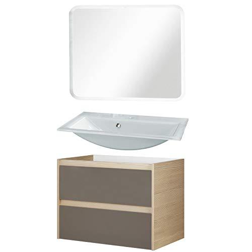 FACKELMANN Badmöbel Set Viora 3-tlg. 80 cm pinie grau mit Waschtisch Unterschrank & Glasbecken & LED Spiegelelement