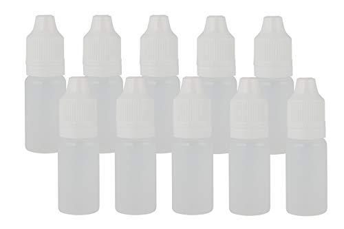 rr-handel 10x 10ml PET Leerflasche mit dünnem Dropper/Auslass und Kindersicherung im Deckel für E-Liquid Shisha-Liquids Kosmetika UVM.