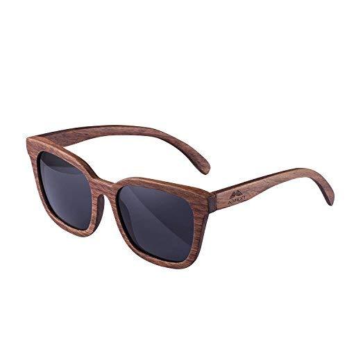 Amexi Holz Sonnenbrillen Polarisierte Sonnenbrille Schwarze Walnuss TAC Objektiv UV400 Sonnenbrillez/Der Rahmen der Brille ist aus Walnuss Holz/Transmission 9% professionelle Sonnenbrille Herren