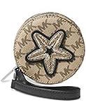 MICHAEL Michael Kors Womens Faux Leather Applique Coin Purse Beige Small