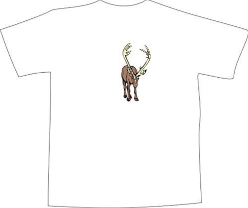 T-Shirt E711 Schönes T-Shirt mit farbigem Brustaufdruck - Logo / Grafik - Comic Design - majestätischer Hirsch mit großem Geweih Weiß