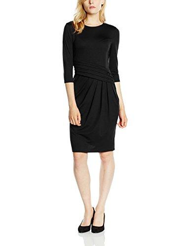 HotSquash Women's Pleat Waist 3/4 Sleeve Dress, Black, Size 12