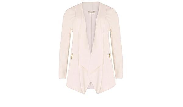 e56d61a7959 Ladies Plus Size Emily Cream Waterfall Zip Pocket Jacket  Amazon.co.uk   Clothing