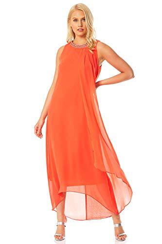 Roman Originals Damen Swing-Kleid mit verzierter Überlage - Damen Fließendes, asymmetrisches Kleid, abends, Partys, besondere Anlässe, Urlaub, Hochzeit, Kreuzfahrt - Koralle - Größe 48
