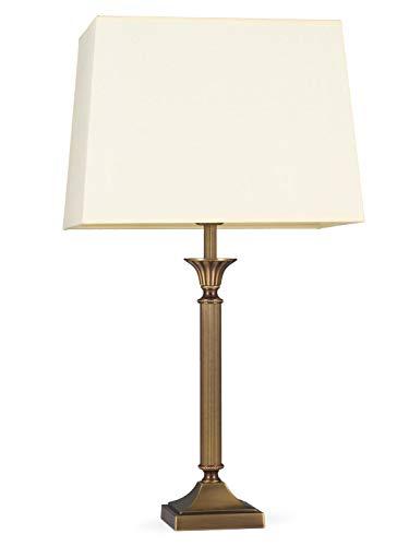 Helios Leuchten 403776/6 Vintage Lampe Leuchte | klassische Jugendstil Tischleuchte Tischlampe | Retro Schreibtischlampe echt Messing antik Altmessing | Lampenschirm Rechteck gelb | 1xE14