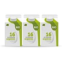Bio Eiklar (flüssiges Eiweiß) im 483 ml Tetra Pak- Good Eggwhites - Low Carb Diät & Muskelaufbau - für Protein Shakes, Omelettes & Co. (kochen & backen) (BIO, 3 x 483 ml)