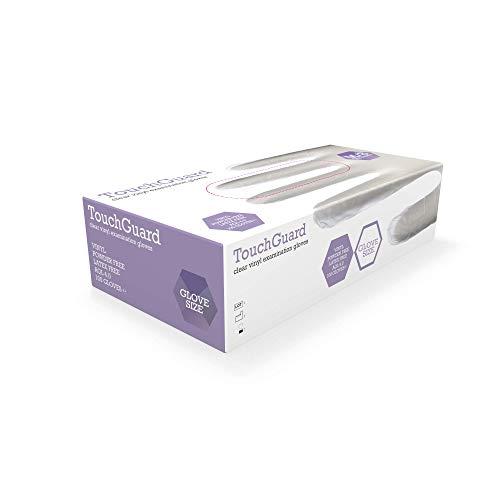 TouchGuard - Transparente Einweghandschuhe, Vinyl, puderfrei, Box mit 100 Stück, Größe XL