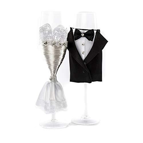 Hochzeit Sektgläser   knuellermarkt24.de   Braut Bräutigam 2er Set Satin-Optik Glas Hochzeitsdeko Deko