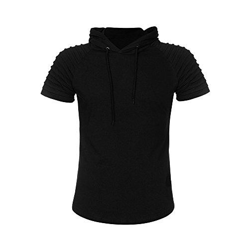 VEMOW Sommer Frühling Herbst Männer T-Shirt Slim Fit Mit Kapuze Kurzarm Muscle Baumwolle Casual Täglichen Party Urlaub Sport Workout Tops Bluse Shirts(Schwarz, EU-54/CN-3XL)