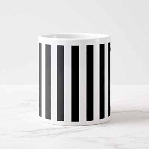 White Mugs White Ceramic Glossy Coffee Mug Thin Vertical Stripes Jumbo Mug - Jumbo Ceramic Mug
