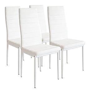 muebles de cocina: Albatros Milano - Set de 4 sillas de Comedor, Estructura metálica y Piel sintéti...
